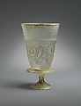 Goblet with Applied Decoration, Colorless glass with greenish tinge; blown, applied decoration