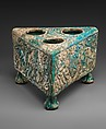 Tabouret with Winged Griffins and Benedictions, Earthenware; molded, modeled, glazed in turquoise