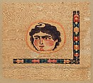 Coptic Textile Fragment with Image of a Goddess, Linen, wool; plain weave, weft-loop pile