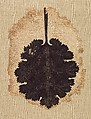 Textile Fragment with a Leaf, Wool, linen; plain weave, tapestry weave