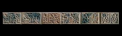 Glazed Tiles with Kufic Inscription, Stonepaste; carved, turquoise glaze