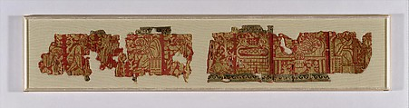 Fragmentary Band with Scenes from the Infancy of Christ, Wool, linen, silk; warp-faced compound twill