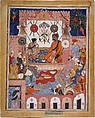 """""""Misbah the Grocer Brings the Spy Parran to his House"""", Folio from a Hamzanama (The Adventures of Hamza), Attributed to Dasavanta, Ink, opaque watercolor, and gold on cloth; mounted on paper"""