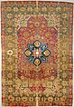 Silk Kashan Carpet, Silk (warp, weft and pile); asymmetrically knotted pile
