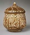 Pyxis (Cylindrical Container), Stonepaste; luster-painted on incised, opaque white glaze