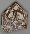 Cross-Shaped Tile Fragment, Stonepaste; overglaze luster-painted