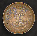 Bowl, Stonepaste; stain and overglaze painted (so-called mina'i)