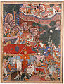 """Assad Ibn Kariba Launches a Night Attack on the Camp of Malik Iraj"", Folio from a Hamzanama (The Adventures of Hamza), Attributed to Basavana, Ink, opaque watercolor, and gold on cloth; mounted on paper"