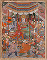 """Hamza's Heroes Fight in Support of Qasim and Badi'uzzaman"", Folio from a Hamzanama (The Adventures of Hamza), Attributed to Shravana, Ink, opaque watercolor, and gold on cloth; mounted on paper"
