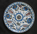 Dish with Floral Design, Stonepaste; polychrome painted under transparent glaze