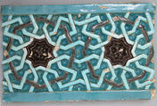 Tile Decorated with Entrelacs Pattern Based on Octagons, Stonepaste; carved and glazed in turquoise and aubergine