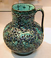 Pierced Jug with Harpies and Sphinxes, Stonepaste; openwork, underglaze-painted, glazed in transparent turquoise