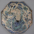 """Octagonal Shaped Tile with a Woman Bust in """"Kubachi"""" Style, Stonepaste; painted in blue, turquoise, black, and white under transparent glaze"""