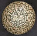 Bowl, Earthenware; underglaze painted on cream slip, transparent glaze