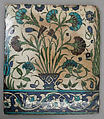 Tile, Stonepaste; painted and glazed