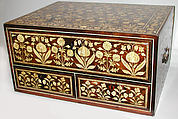 Flower-Style Box with Drawers, Wood (poplar); overlaid with ebony inlaid with wood and incised, stained ivory