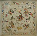 Cover, Cotton, silk, flat metal thread; plain weave, embroidered
