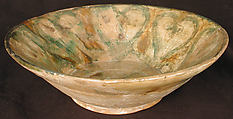 Bowl, Earthenware; white slip, incised and splashed with polychrome glazes under transparent glaze (sgraffito ware)