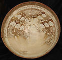 Bowl, Stonepaste; luster-painted on opaque white glaze