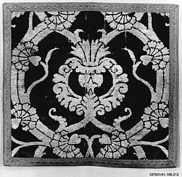Panel, Cut and voided silk velvet; and metal thread; brocaded in silver and silver-gilt thread