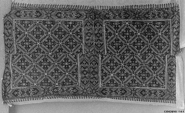 Panel, Linen; embroidered with silk