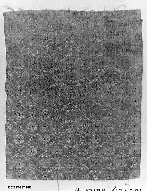 Fragment, Silk, cotton, and metal wrapped thread; brocaded