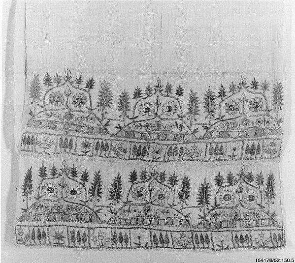 Towel, Cotton, silk, metal thread; embroidered
