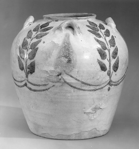Jar with Four Lug Handles, Earthenware; painted in blue on opaque white glaze