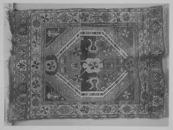 Single-Octagon Floral Rug, Wool (warp, weft and pile)