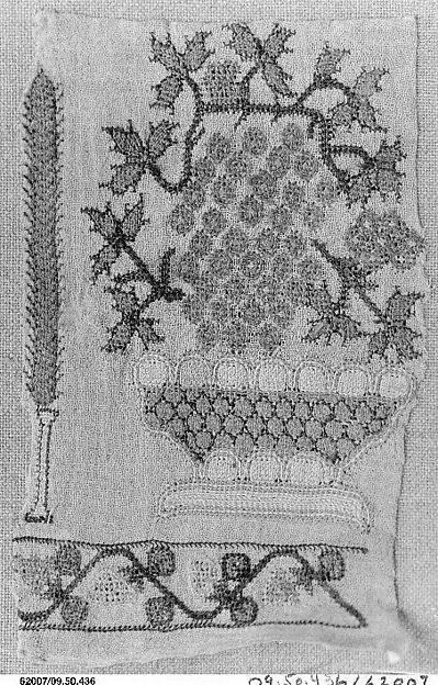 Fragment, Linen, silk, and metal wrapped thread; plain weave, embroidered