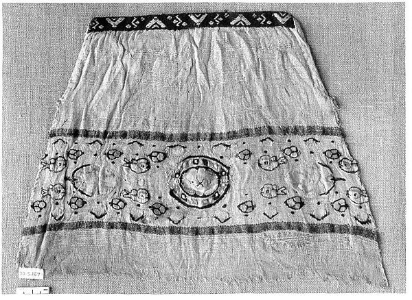 Sleeve Fragment with a Band with Fish and Blossoms, Tapestry weave in polychrome wool and undyed linen on plain-weave ground of undyed linen; applied weft-pattern band in wool and undyed linen