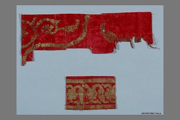 Fragments, Velvet; silk and gold leaf