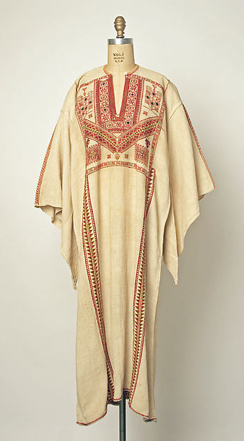 Dress, Linen; embroidered