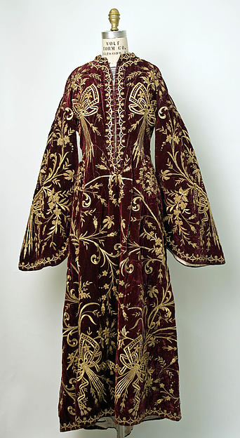 Robe, Silk, cotton, metal wrapped thread; embroidered