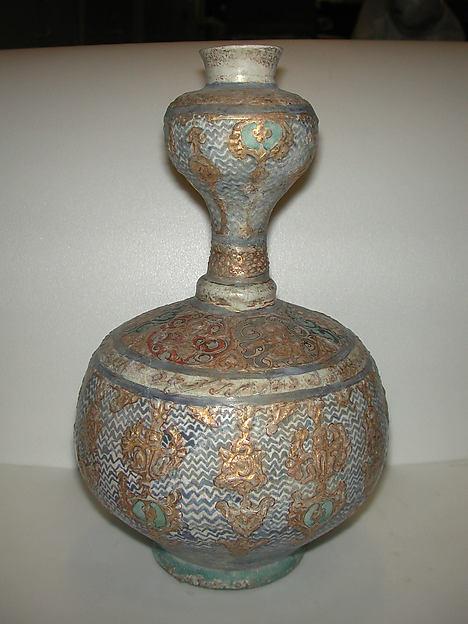 Gilded Mina'i Ceramic, Stonepaste; applied decoration, polychrome inglaze and overglaze painted and gilded on opaque monochrome glaze (mina'i)