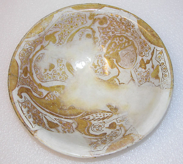 Bowl, Earthenware; luster-painted on opaque white glaze under transparent colorless glaze