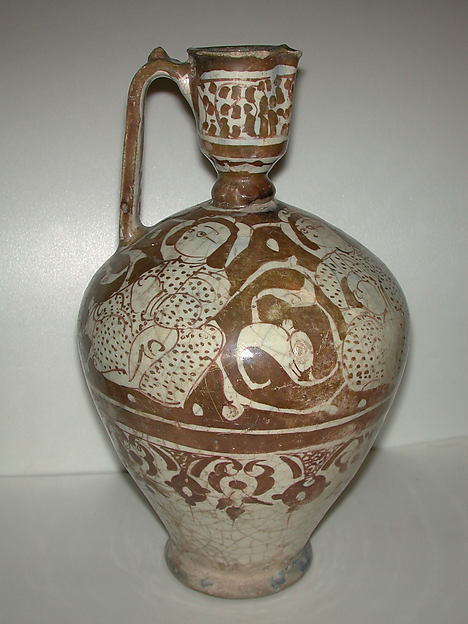 Ewer, Stonepaste; molded; luster-painted on opaque white glaze under transparent colorless glaze