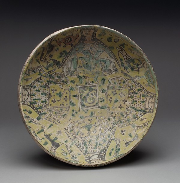 Bowl, Earthenware; polychrome slip under transparent glaze