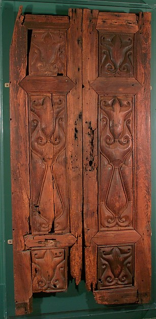 Pair of Doors Carved in the 'Beveled Style', Wood (teak); carved