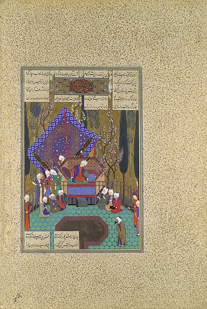 """""""Zal Consults the Magi"""", Folio 73v from the Shahnama (Book of Kings) of Shah Tahmasp, Abu'l Qasim Firdausi (935–1020), Opaque watercolor, ink, silver, and gold on paper"""