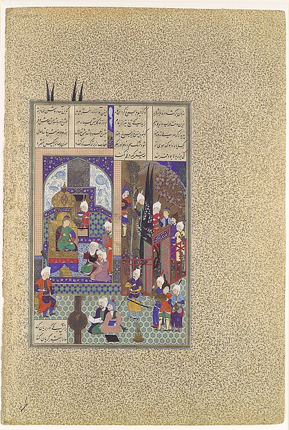 """The Shah's Wise Men Approve of Zal's Marriage"", Folio 86v from the Shahnama (Book of Kings) of Shah Tahmasp, Abu'l Qasim Firdausi (935–1020), Opaque watercolor, ink, silver, and gold on paper"