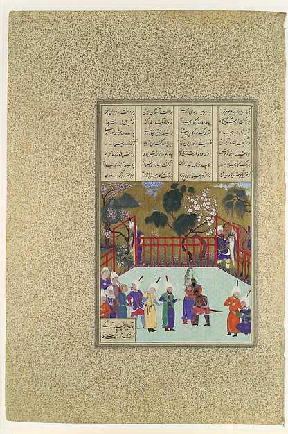"""""""Kai Kavus and Rustam Embrace"""", Folio 123r from the Shahnama (Book of Kings) of Shah Tahmasp, Abu'l Qasim Firdausi (935–1020), Opaque watercolor, ink, silver, and gold on paper"""