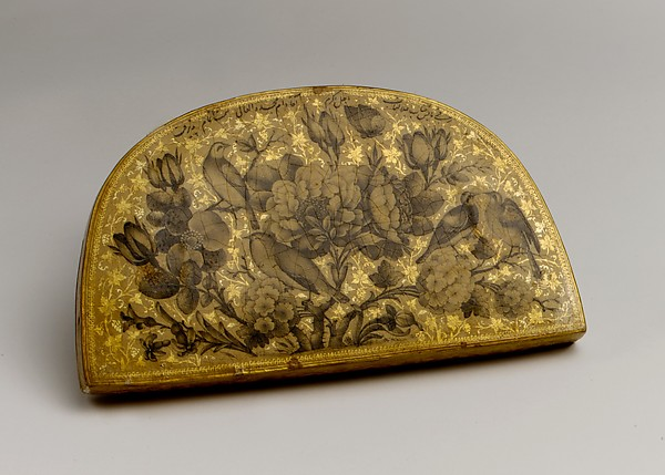 Lacquer Mirror Case, Painting by Fathallah Shirazi (Iranian, active 1850s–80s), Papier-maché; painted, gilded, and lacquered
