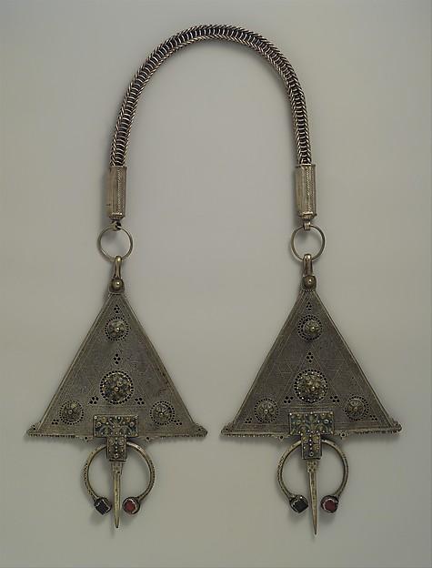 Pair of Fibulae, Silver, enameled glass
