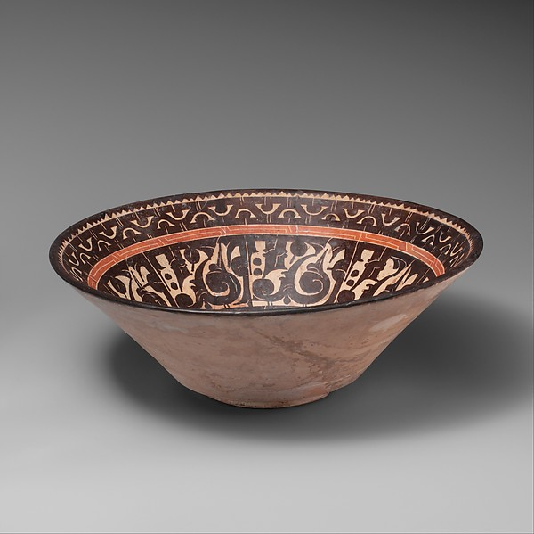 Bowl with Pseudo-Inscriptional Design, Earthenware; white slip with polychrome slip decoration under transparent glaze