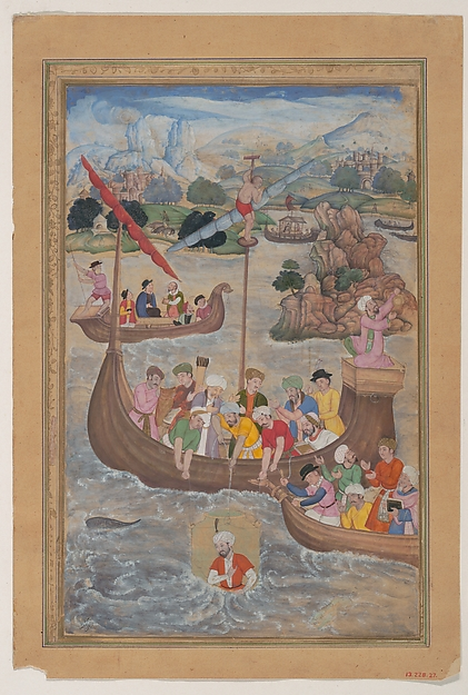 """Alexander is Lowered into the Sea"", Folio from a Khamsa (Quintet) of Amir Khusrau Dihlavi, Amir Khusrau Dihlavi (1253–1325), Main support: Ink, watercolor, gold on paper Margins: Gold on dyed paper"