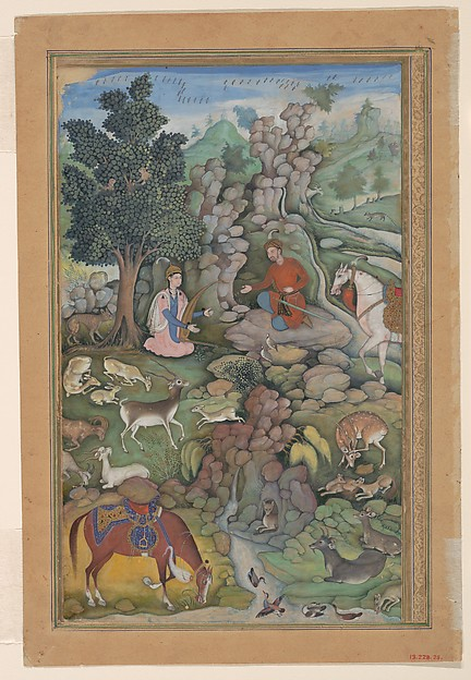 """""""Bahram Gur Sees a Herd of Deer Mesmerized by Dilaram' s Music"""", Folio from a Khamsa (Quintet) of Amir Khusrau Dihlavi, Amir Khusrau Dihlavi (1253–1325), Main support: ink, opaque watercolor, and gold on paperMargins: gold on dyed paper"""