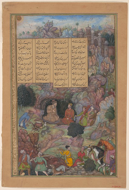 """Alexander Visits the Sage Plato in his Mountain Cave"", Folio from a Khamsa (Quintet) of Amir Khusrau Dihlavi, Amir Khusrau Dihlavi (1253–1325), Main support: Ink, opaque watercolor, gold on paper