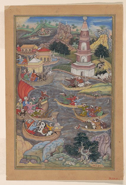 """Alexander Fights a Sea Battle"", Folio from a Khamsa (Quintet) of Amir Khusrau Dihlavi, Amir Khusrau Dihlavi (1253–1325), Main support: Ink, opaque watercolor, gold on paper