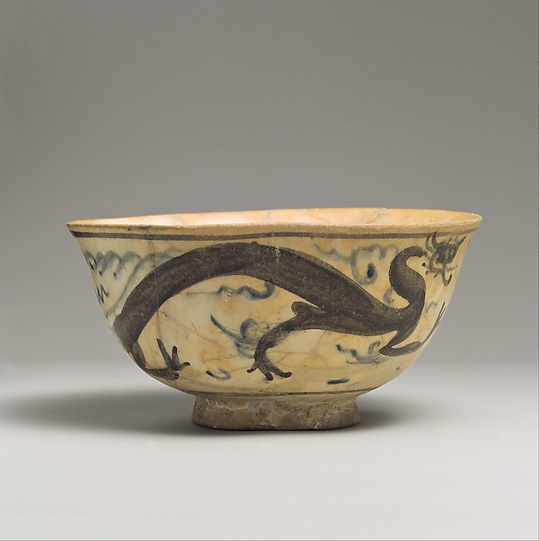 Bowl, Stonepaste; painted in blue and black under transparent glaze